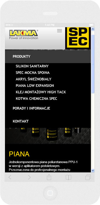 <p>Software on request for Lakma SAT – website.<br />Website in RWD technology.<br />Website menu layout presentation for iPhone 6, in portrait layout, screen width: 414 px</p>