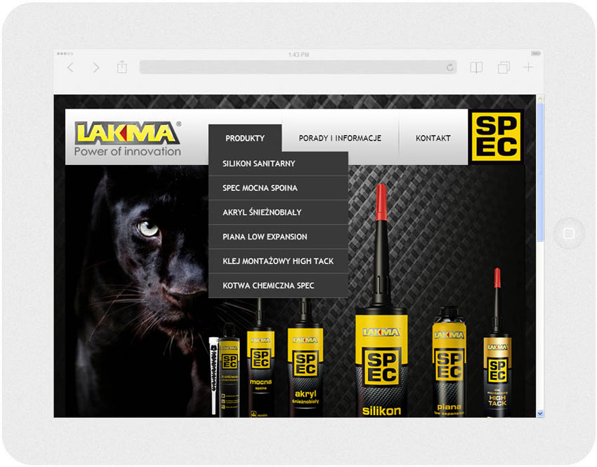 <p>Software on request for Lakma SAT – website.<br />Website in RWD technology.<br />Product section menu layout presentation for Ipad, in panorama layout, screen width: 1024 px</p>
