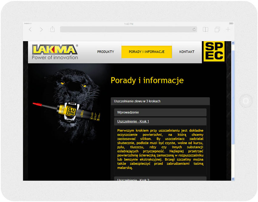 <p>Software on request for Lakma SAT – website.<br />Website in RWD technology.<br />Advice section presentation for Ipad, in panorama layout, screen width: 1024 px</p>