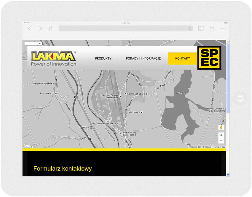 <p>Software on request for Lakma SAT – website.<br />Website in RWD technology.<br />Contact section presentation for Ipad, in panorama layout, screen width: 1024 px</p>