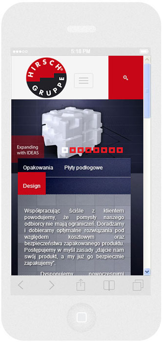 <p>Software on request for Hirsch Porozell – website.<br />Website in RWD technology.<br />Homepage presentation for iPhone 5, in portrait layout, screen width: 320 px</p>