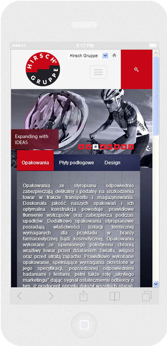 <p>Software on request for Hirsch Porozell – website.<br />Website in RWD technology.<br />Homepage presentation for iPhone 6, in portrait layout, screen width: 375 px</p>