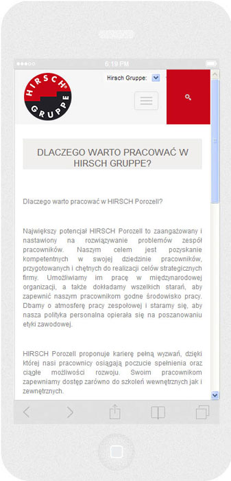 <p>Software on request for Hirsch Porozell – website.<br />Website in RWD technology.<br />Selected websites for iPhone 6, in portrait layout, screen width: 375 px</p>