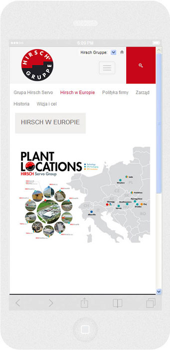 <p>Software on request for Hirsch Porozell – website.<br />Website in RWD technology.<br />Selected websites for iPhone 6, in portrait layout, screen width: 414 px</p>