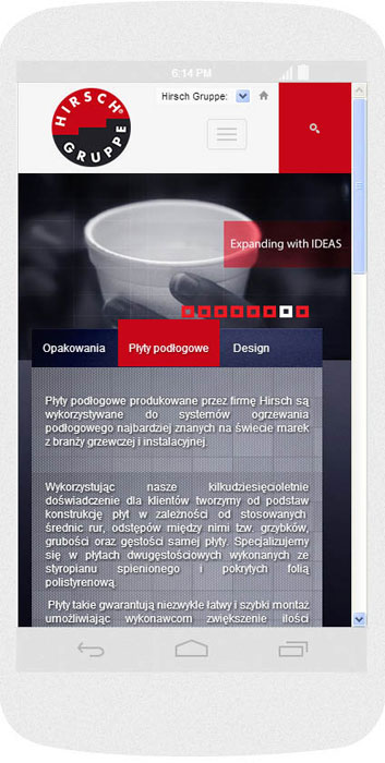 <p>Software on request for Hirsch Porozell – website.<br />Website in RWD technology.<br />Homepage presentation for Android (Nexus4), in portrait layout, screen width: 384 px</p>