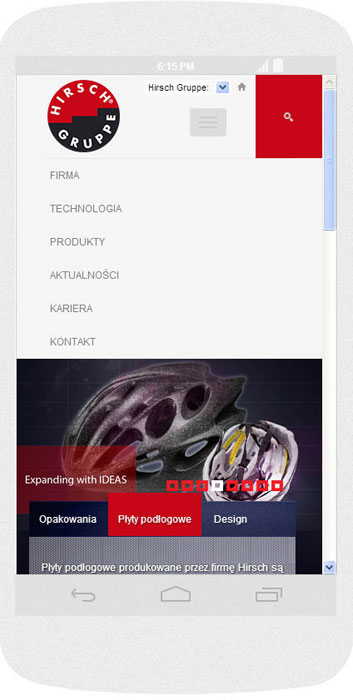 <p>Software on request for Hirsch Porozell – website.<br />Website in RWD technology.<br />Website menu layout presentation for Android (Nexus4), in portrait layout, screen width: 384 px</p>