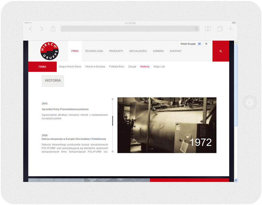 <p>Software on request for Hirsch Porozell – website.<br />Website in RWD technology.<br />Selected websites for Ipad, in panorama layout, screen width: 1024 px</p>